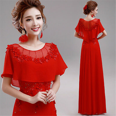 Red Formal Evening Prom Party Dress Bridesmaid Gown Ballgown Flower Batwing C226