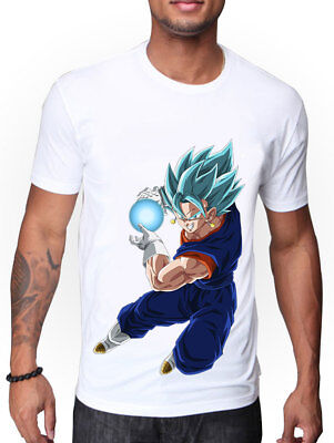 MENS DRAGON BALL Z SUPER BLUE VEGITO UNLEASHING SPIRIT BOMB DESIGN T-SHIRT