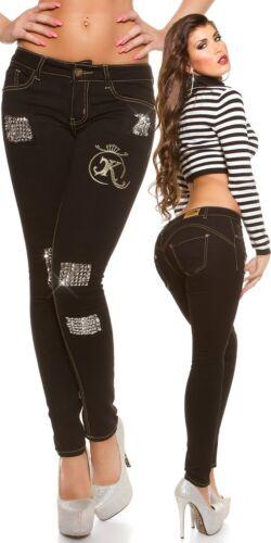 KOUCLA Push-Up Skinny Jeans Donna Pantaloni Jeans Skinny Con Borchie