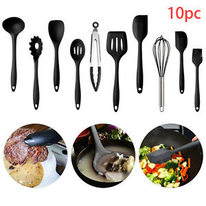 10Pcs-Kitchen-Silicone-Cooking-Utensils-Sets-Non-sticks-Spatula-Turner-Black-UK