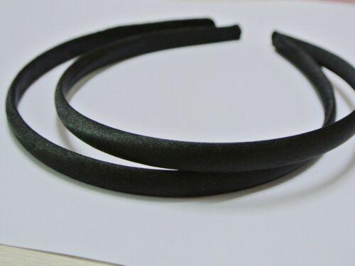 10 Black Plastic Headband Covered Satin Hair Band 9mm for DIY Craft