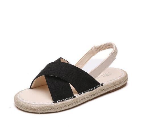 Korean Women/'s Breathable Flat Heel Open Toe Straw Linen Pull On Sandals Shoes A