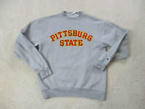 VINTAGE-Champion-Pittsburgh-State-Sweater-Adult-Medium-Gray-Red-Pullover-Men-90s
