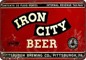 Iron-City-Beer-Vintage-Rustic-Retro-Metal-Sign-8-034-x-12-034