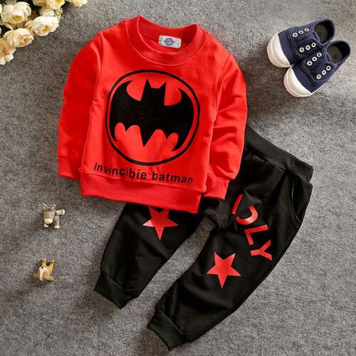 2 PCS Cotton Toddler baby boys outfits T shirt tops+pants kid Clothes Batman set