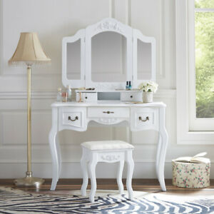 White Tri-Folding Mirror Vanity Set 5 Drawers Dressing Table Makeup Desk & Stool