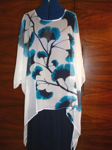 100/% silk georette floaty kaftan//tunic  Lijin/'s blue flowers on white  L//XL  NEW