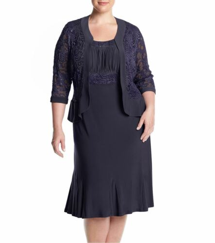 RM Richards Women/'s Plus Size Ruffled Trim Lace Jacket Mother of the Bride Dress