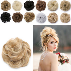 Large Real Natural Chignon Messy Curly Bun Updo Clip In Hair Piece