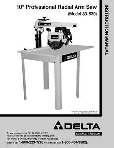delta 33 830 10 professional radial arm saw instruction manual ebay