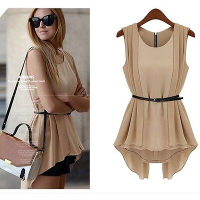 Lady's Fashion Apricot/Black Irregular Chiffon Vest Collect Blouse Top With Belt