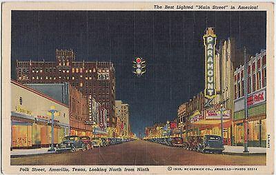 Texas Tx Postcard Linen AMARILLO Night POLK STREET Paramount Theatre