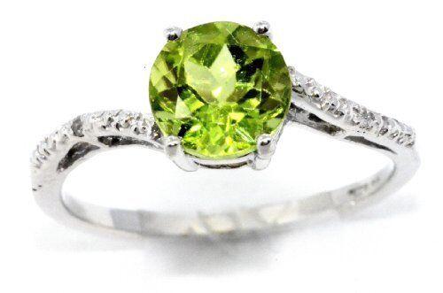 1.5 Ct Peridot /& Diamond Round Ring .925 Sterling Silver