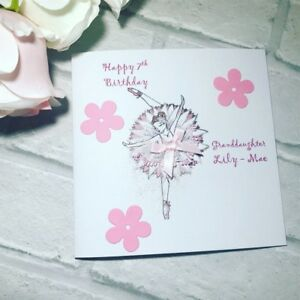 Image Is Loading Dancing Ballerina Handmade Girls Happy Birthday Card