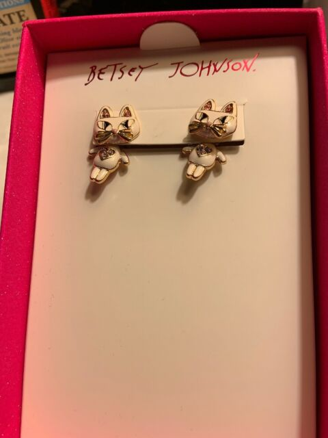 17b8c450308de Betsey Johnson While Enamel Cat Earrings Jackets Be1g