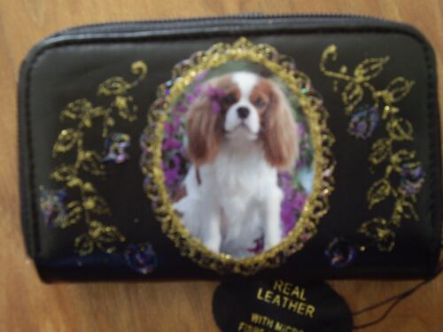 NEW KING CHARLES SPANIEL  PICTURE  BLACK LEATHER  PURSE//WALLET