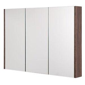 900 Mm 3 Porte Avec Miroir Armoire Noyer Interieur Etagere Salle De Bain Rangement Placard Ebay