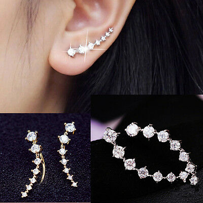 Lady Silver & Gold Plated Chic Crystal Earrings Ear Hook Gifts 1 Pair