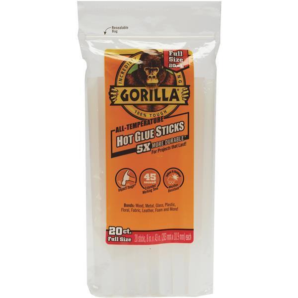 """Gorilla 8"""" X 0.43"""" Dia Standard Clear Hot Melt Glue Stick 20/Pk 3032002"""