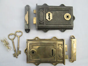 Antique Wrought Cast Iron /& Brass Floral Door Rim Lock Latch Victorian Style