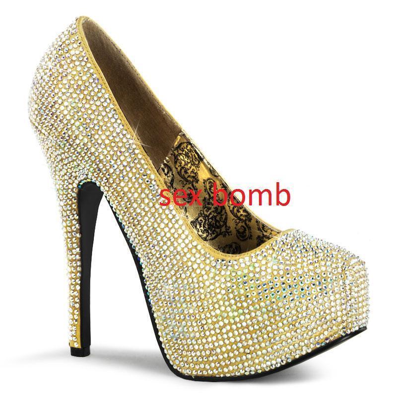 Sexy Schuhe Pumps STRASS plateau unsichtbar Absatz 14,5 von 36 bis 42 Braut GLAM
