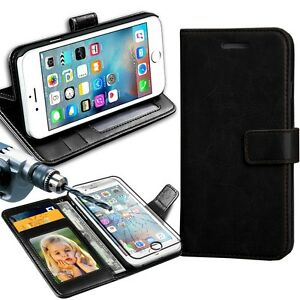 Rich-Luxury-Leather-Wallet-Flip-Case-For-Various-Smart-Phones-amp-Glass-Protector