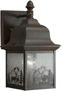Details About Whitetail Lodge 12 Small Outdoor Porch Wall Light Bronze Deer Forest Pine Cabin