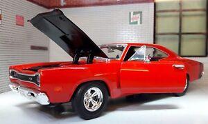 LGB-1-24-Scale-Red-Dodge-Coronet-Superbee-1969-Motormax-Diecast-Model-Car-73315