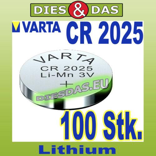 100 Stk Varta CR 2025 Knopfzelle Alkaline Knopfbatterie bulk lose