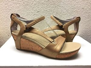 TEVA CAPRI STRAP WEDGE WEDGE STRAP LEATHER PEARLIZED TAN SHOE US 10   EU 41   UK ... 3e7f91