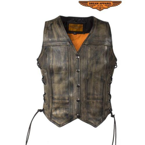 Vest 12 Leather Cowhide Naked Kvinder 744309712980 Lv310 Brown Distressed CX6qwxafB