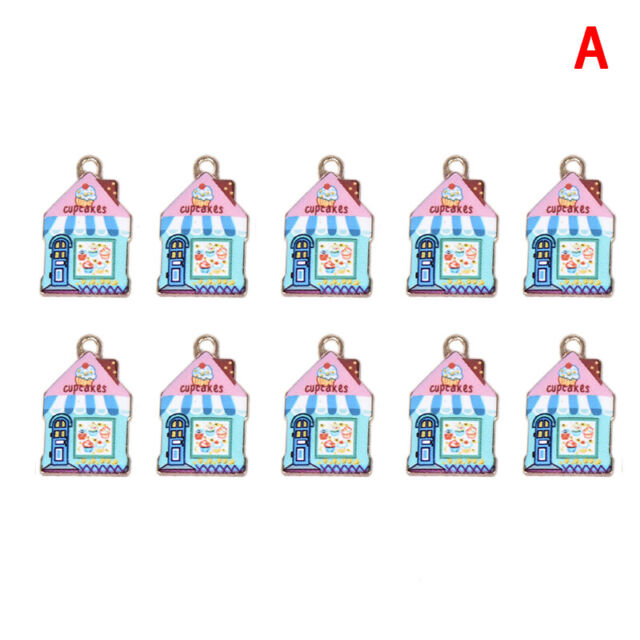 10Pcs//Set Enamel Alloy Cute House Charms Pendant Diy Craft Jewelry Making Gi KW