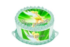 Awesome Tinkerbell Birthday Cake Topper Rice Paper Icing Personalised Funny Birthday Cards Online Alyptdamsfinfo