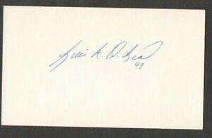 Luis DeLeon 3x5 signed auto autographed index note card Cardinals Padres
