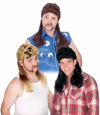 Mens Mullet Wigs Black Dirty Blonde Brown Hair Wig White Trash Costume Adult