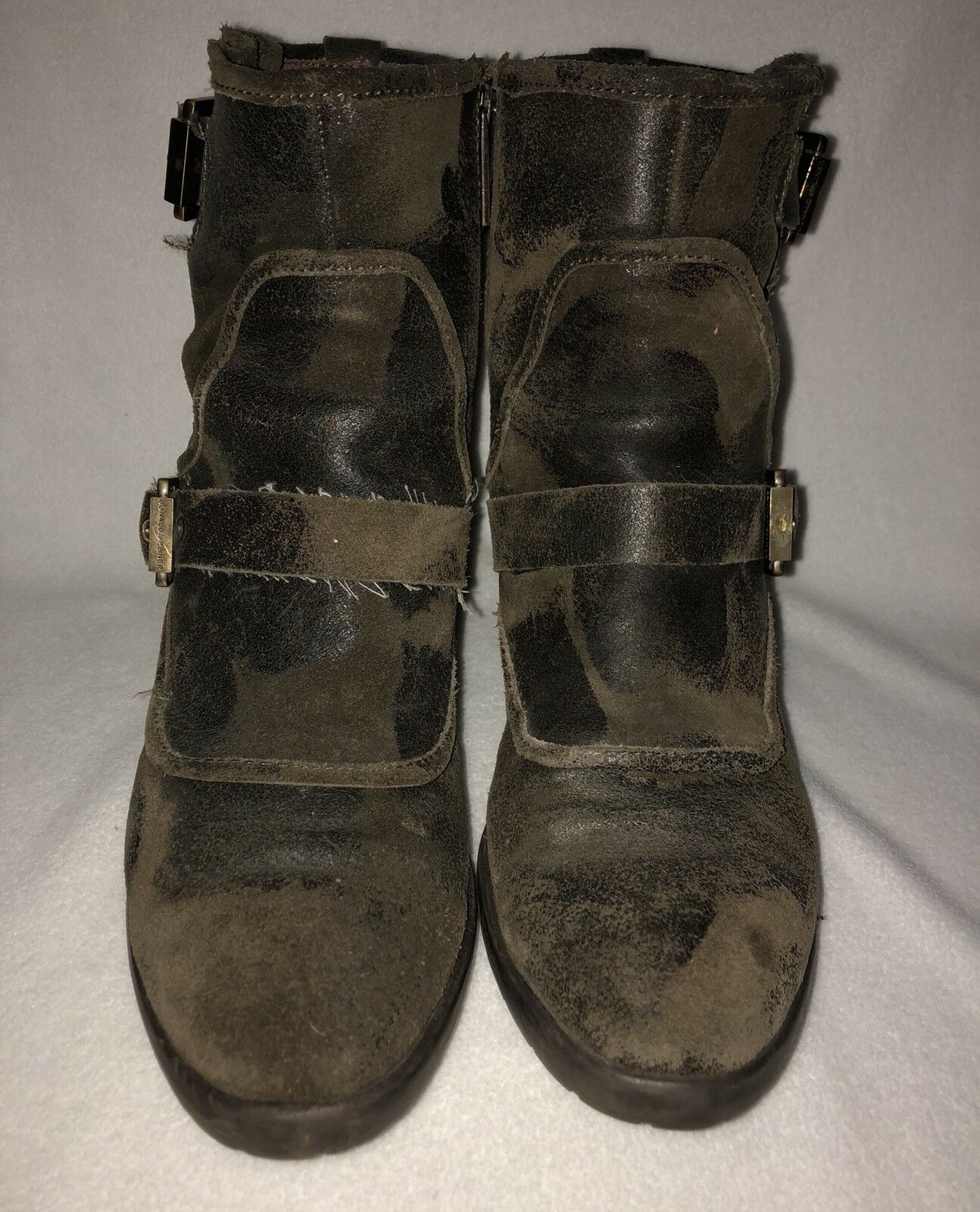 DONALD DELTA J. PLINER DELTA DONALD CAMO OLIVE GREEN DISTRESSED LEATHER ZIP UP BOOTS 8 M RARE 6c492b