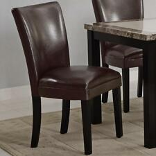 Brown Vinyl Upholstered Parson Dining Side Chair by Coaster 102263 - Set of 2