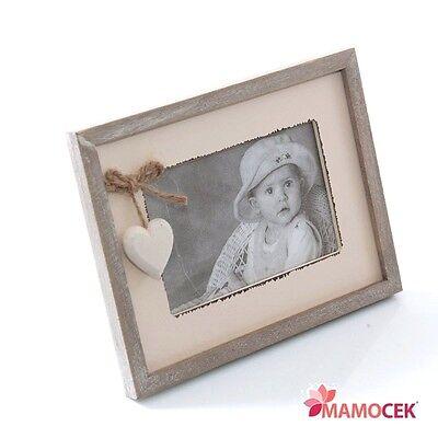 PORTAFOTO CORNICE CUORE SINGOLA cm.22x17 LEGNO BIANCO GRIGIO SHABBY CHIC
