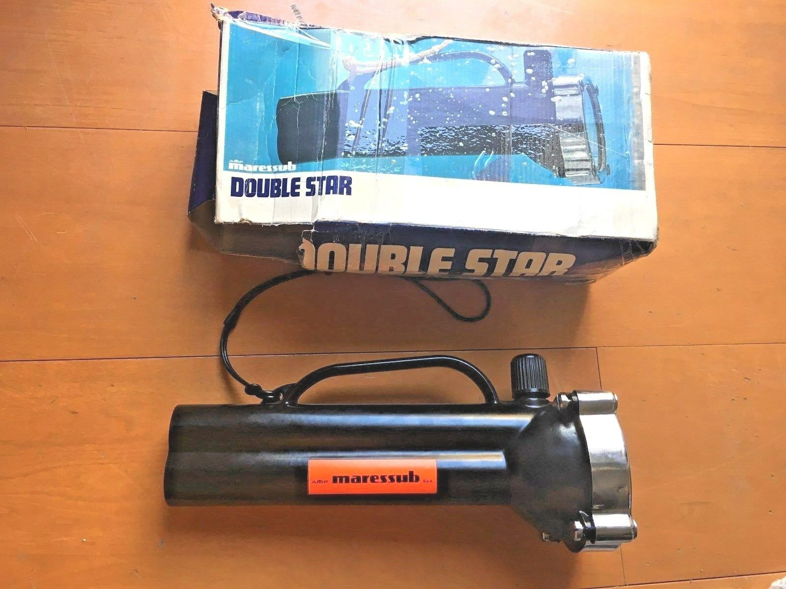 MARES double STAR vintage underwater torch lamp in BOX metal