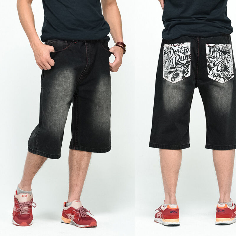 Details about Big & Tall Mens Jeans Shorts Relaxed Hip Hop Work Wear Baggy Plus Size 30W 46W