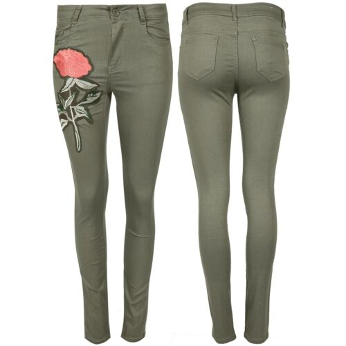 Womens Ladies Flower Rose Embroidered Skinny Slim Fitted Denim Trousers Jeans