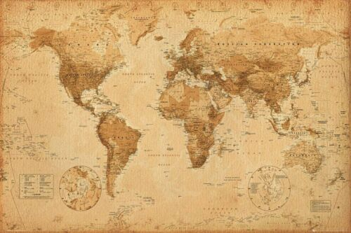 World Map Antique Poster 24x36 inch *FAST SHIPPING* New