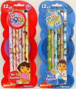 Details About Dora The Explorer 12 Pack Pencils Go Diego Go School Nick Jr Party Favors