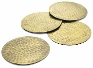Stylish Set Of Four Gold Effect Metal Hammered Drinks Coasters
