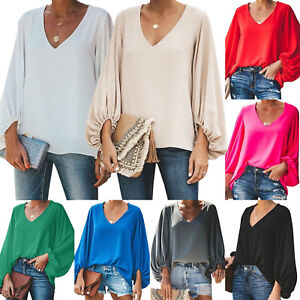 Women-039-s-Long-Puff-Sleeve-V-Neck-Shirts-Casual-Loose-Blouse-Jumper-Tops-Plus-Size