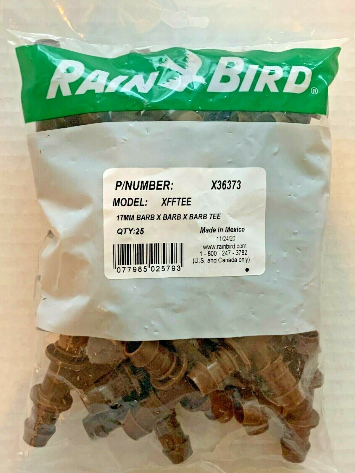 25 Rain Bird XFFTEE 17mm x 17mm Barbed Tee Dripline Adapter Fittings Drip X36373