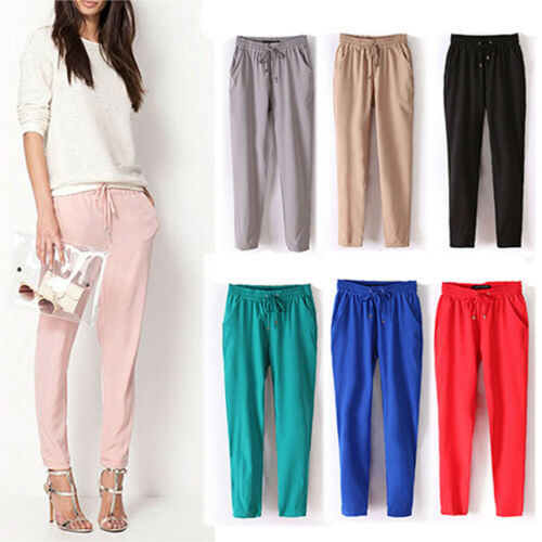 BU/_ Women Fashion Casual Chffion Pants Solid Color Elastic Waist Full Length Tro
