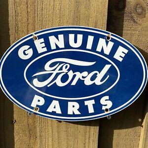 VINTAGE-FORD-AUTO-PORCELAIN-METAL-SIGN-USA-GAS-OIL-SERVICE-STATION-MECHANIC-BLUE