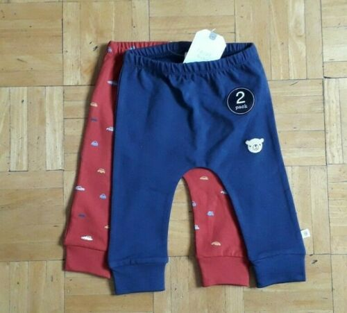 BNWT Baby Boys 2pk Navy Red Print Leggings 3-6 9-12 months NEXT