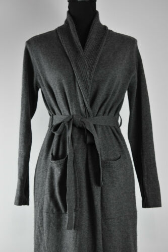 Neiman Marcus Sz S Gray Wrap Silk&Cashmere Long Du